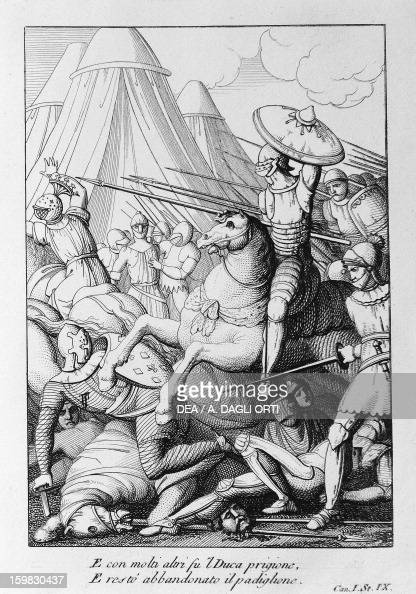 Battle scene Canto I from Mad Orlando epic poem by Ludovico Ariosto drawing and engraving by Filippo Pistrucci Nikolaus Bettoni publishing 1831 Milan...