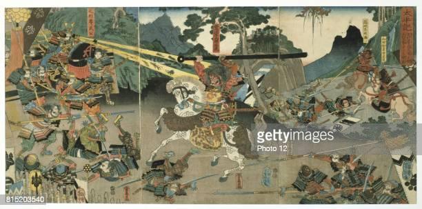 Battle scene from the series 'The Fortyseven Faithful Samurai' Coloured woodblock print late 1840's Utagawa Yoshitora Japanese artist and printmaker