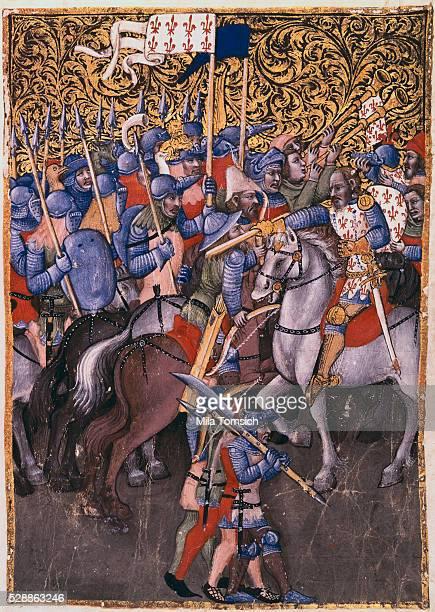 Battle scene miniature painting attributed to Niccolo da Bologna 14th century