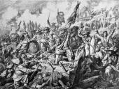 Battle 'Zauberhaufen' during the Second Siege of Vienna Copper engraving 17th century [Schlacht auf dem Zauberhaufen whrend der 2 Trkenbelagerung...