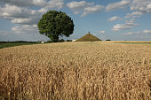 Lion's Mound over the battlefield of the Battle of Waterloo (1815) near Brussels, Belgium.