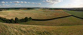 Battlefield of the Battle of Waterloo (1815) near Brussels, Belgium. Panorama from the top of the Lion's Mound.