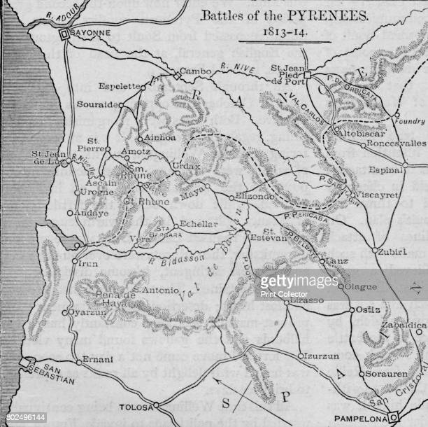 'Battles of the Pyrenees Sketch Map' 1902 The Battle of the Pyrenees fought by the French Empire against Spain Portugal and United Kingdom From...