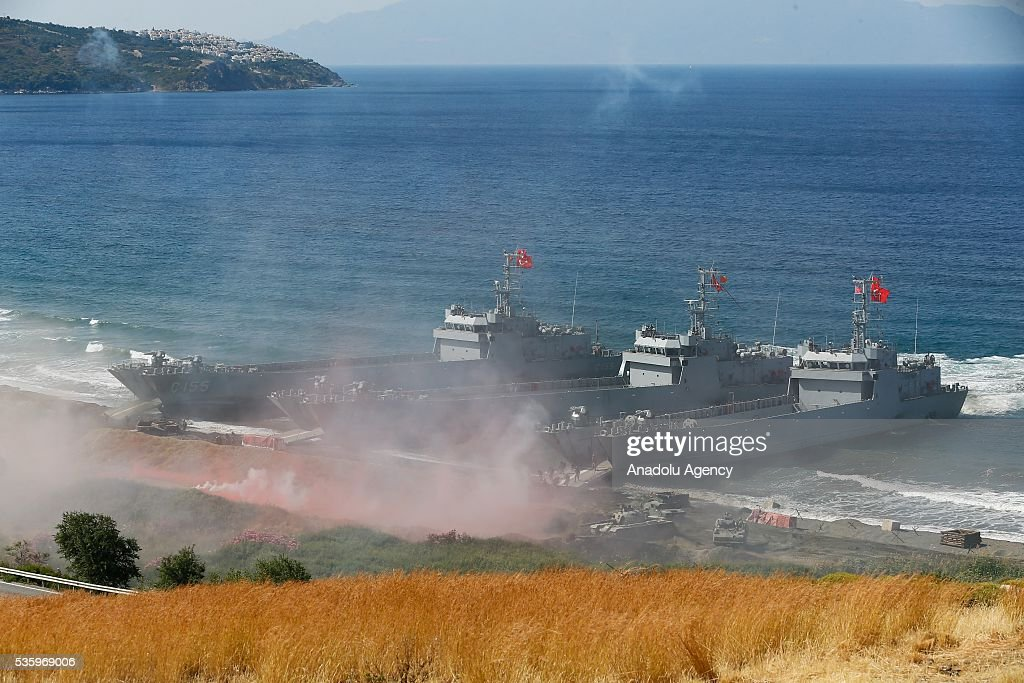 Battleships are seen during the Efes-2016 Combined Joint Live Fire Exercise at Seferihisar district of Izmir, Turkey on May 31, 2016. The Turkish-led multinational military exercises, Efes-2016 which started at 04 May and will be finished at 04 June 2016, aims to train participating units and staff in planning and conducting combined and joint operations, including logistics and command-control as well as to improve the level of interoperability among headquarters and forces.