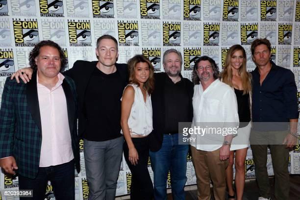 DIEGO 'Battlestar Galactica Press Room' Pictured Aaron Douglas Tahmoh Penikett Grace Park David Eick Ron Moore Tricia Helfer and Michael Trucco