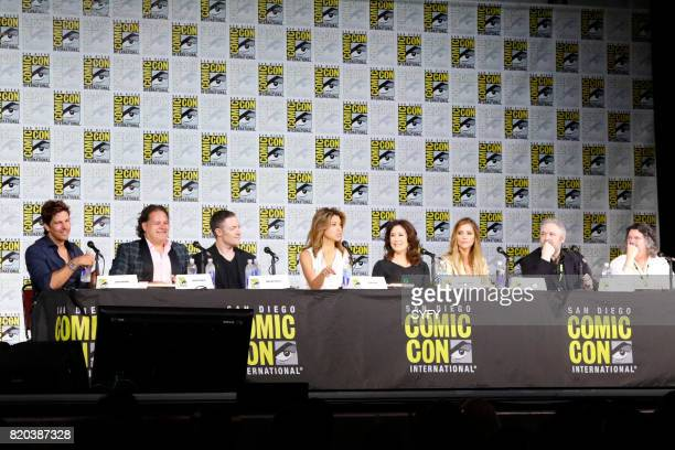 DIEGO 'Battlestar Galactica Reunion Panel' Pictured Michael Trucco Aaron Douglas Tamoh Penikett Grace Park Mary McDonnell Tricia Helfer David Eick...