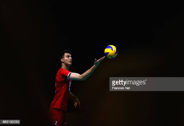 Batuhan Avci of Turkey serves the ball during the Men's Volleyball Group A match between Turkey and Pakistan during day four of Baku 2017 4th Islamic...