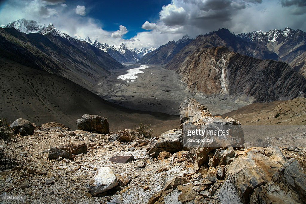 Batura glacier during snowfall : Stock Photo