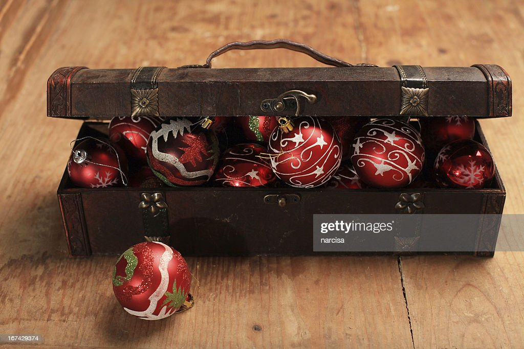 Baubles in a  wooden treasure box : Stock Photo