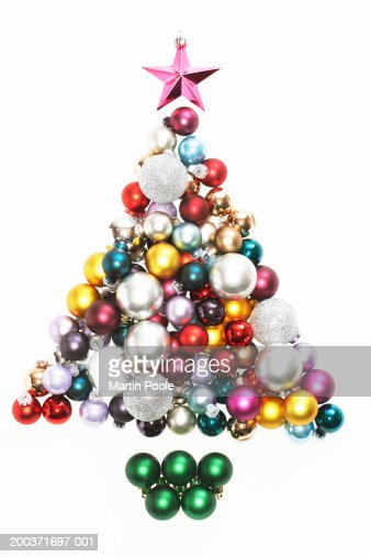 Baubles in shape of Christmas tree : Stock Photo