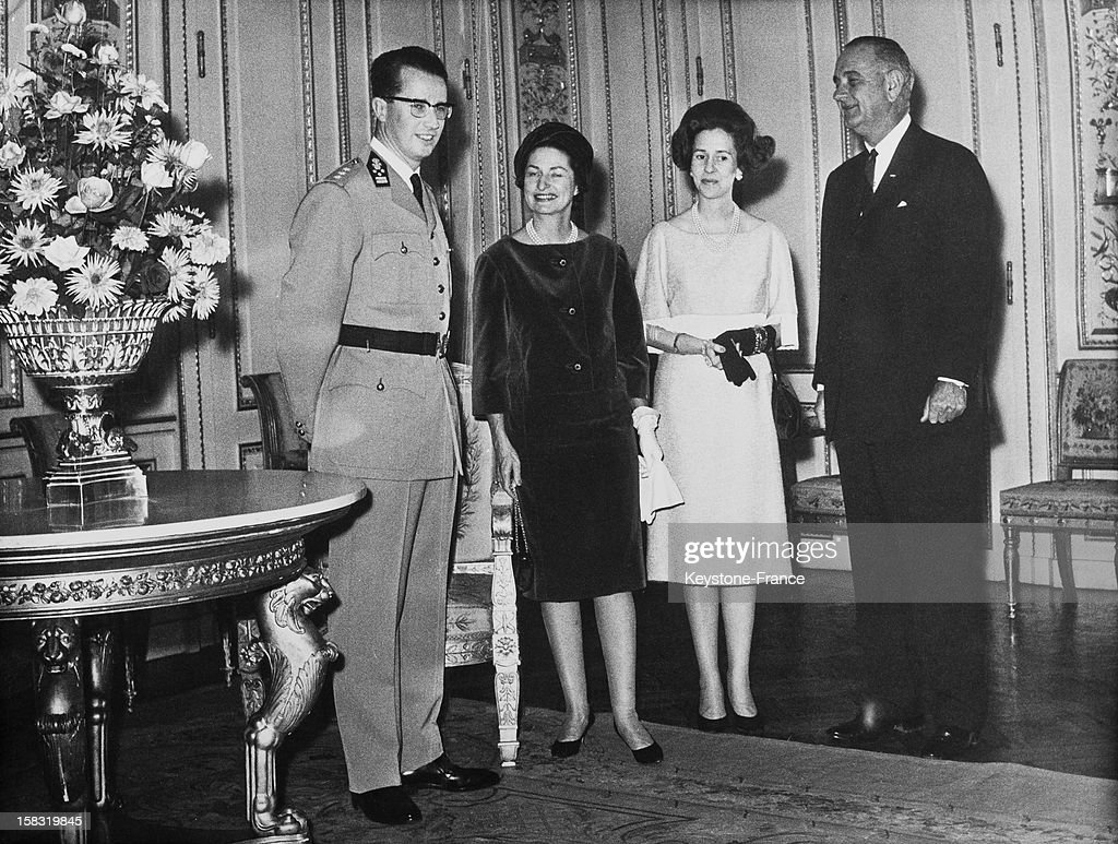 Baudouin I Of Belgium and wife Queen Fabiola Of Belgium with Lyndon B Johnson and wife <a gi-track='captionPersonalityLinkClicked' href=/galleries/search?phrase=Lady+Bird+Johnson&family=editorial&specificpeople=100435 ng-click='$event.stopPropagation()'>Lady Bird Johnson</a> at the royal palace of Brussels, Belgium during the visit of Lyndon B Johnson, vice president of the United States in Belgium.