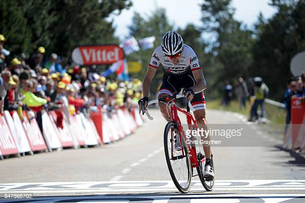 Bauke Mollema of Netherlands riding for TrekSegafredo crosses the finish line during stage twelve a 178km stage from Monpellier to ChaletReynard near...