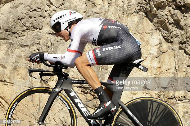 Bauke Mollema of Netherlands riding for TrekSegafredo rides during the stage thirteen individual time trial a 375km stage from BourgSaintAndéol to La...