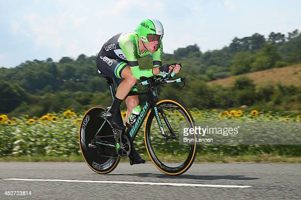 Bauke Mollema of The Netherlands and the Belkin Pro Cycling Team in action during the twentieth stage of the 2014 Tour de France a 54km individual...