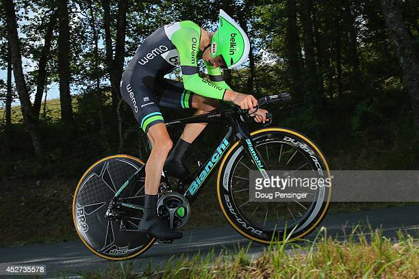 Bauke Mollema of The Netherlands and the Belkin Pro Cycling Team competes in the individual time trial during the twentieth stage of the 2014 Tour de...