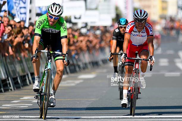 Bauke Mollema of The Netherlands and the Belkin Pro Cycling Team sprints to take second from Joaquin Rodriguez of Spain and Team Katusha during the...