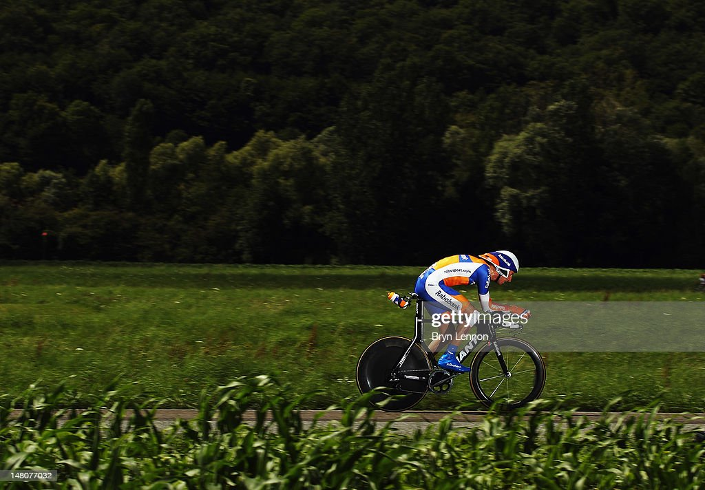 Bauke Mollema of The Netherlands and the Rabobank Cycling Team in action during stage nine of the 2012 Tour de France, a 41.5km individual time trial, from Arc-et-Senans to Besancon on July 9, 2012 in Besancon, France.