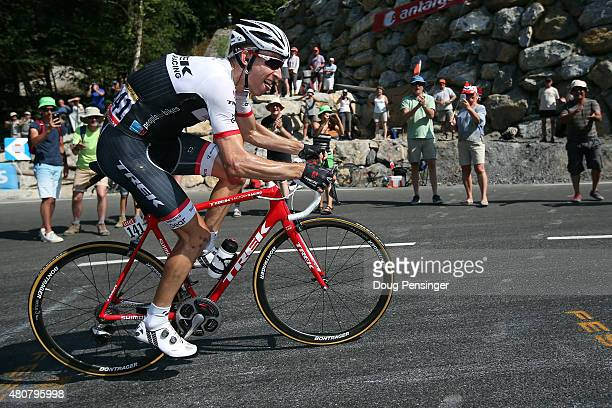 Bauke Mollema of the Netherlands riding for Trek Factory Racing attecks the group of the yellow jersey on the final climb as he went on to finish...