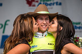 Bauke Mollema of the Trek Factory Racing Team takes back the yellow jersey and receives podium kisses after stage 3 of the Tour of Alberta on...
