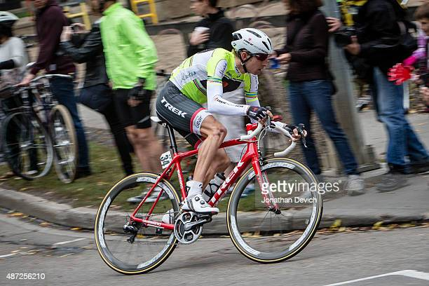 Bauke Mollema riding for the Trek Factory Racing team rides in the race leaders jersey during stage 6 of the Tour of Alberta on September 7 2015 in...