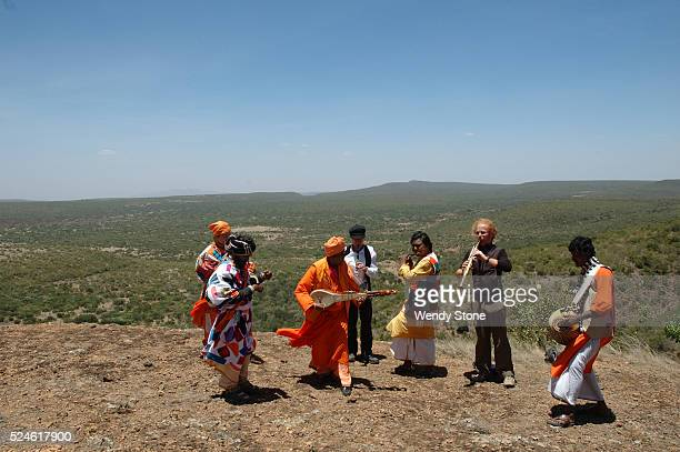Baul minstrels and musicians perform at the Earth Festival in the Laikipia Nature Conservancy along with other international musicians The Bauls are...