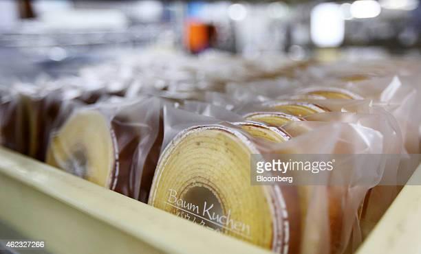 Baumkuchen cakes sit in the Kimuraya bakery in Rikuzentakata Iwate prefecture Japan on Saturday Jan 17 2015 President Masayuki Kimura raised 25...