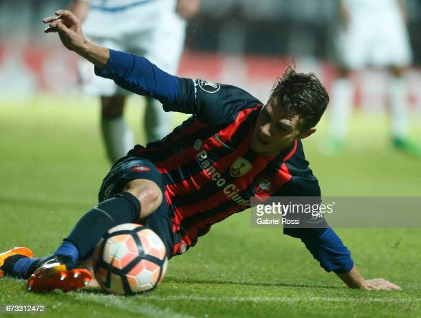 Bautista Merlini of San Lorenzo controls the ball during a match between San Lorenzo and Universidad Catolica as part of Copa CONMEBOL Libertadores...