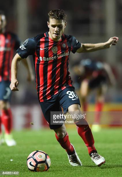 Bautista Merlini of San Lorenzo drives the ball during a first leg match between San Lorenzo and Lanus as part of the quarter final of Copa CONMEBOL...