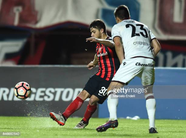 Bautista Merlini of San Lorenzo takes a shot during a first leg match between San Lorenzo and Lanus as part of the quarter final of Copa CONMEBOL...