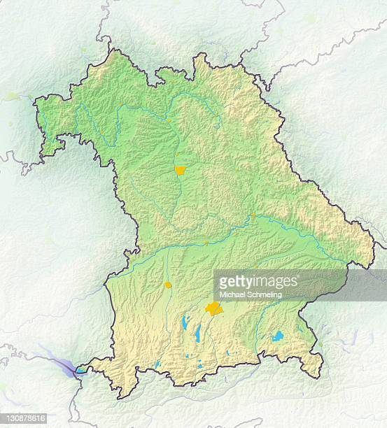 Bavaria, Germany, shaded relief map