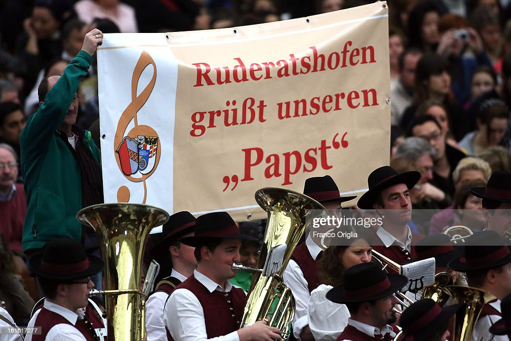 A Bavarian brass band attends the Pope Benedict XVI's weekly audience on February 13, 2013 in Vatican City, Vatican. The Pontiff will hold his last weekly public audience on February 27 at St Peter's Square after announcing his resignation earlier this week.