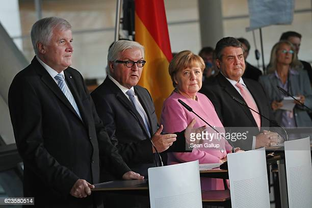 Bavarian Christian Democrats Chairman Horst Seehofer Foreign Minister FrankWalter Steinmeier Chancellor and German Christian Democrats Chairwoman...