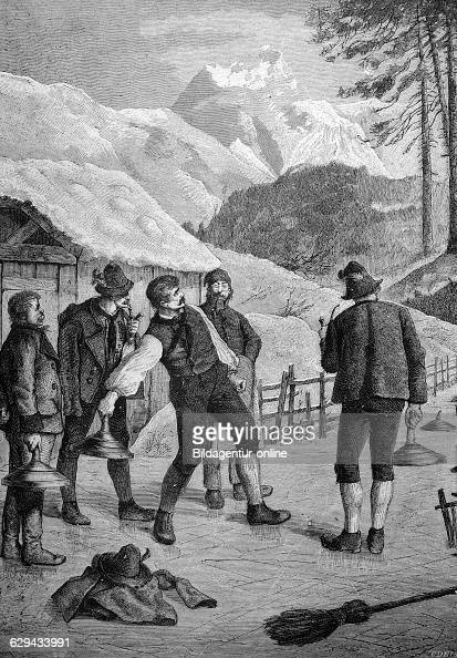 Bavarian curling in the bavarian mountains bavaria germany historical illustration 1877