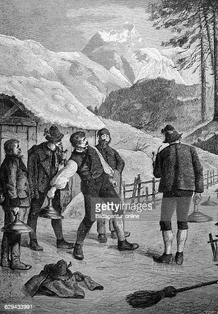 Bavarian curling in the bavarian mountains bavaria germany historical illustration 1877