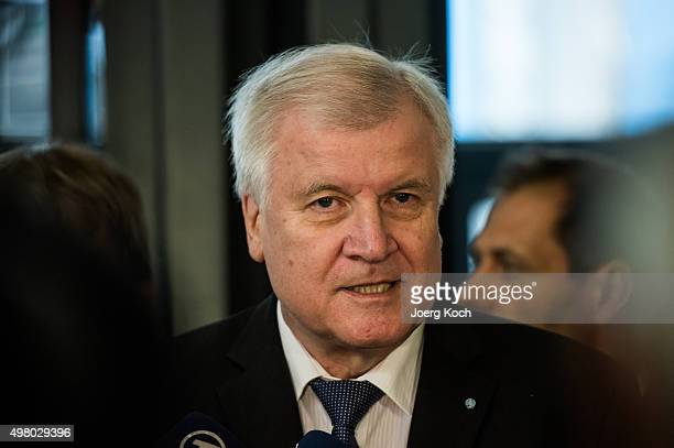 Bavarian Governor and Chairman of the Bavarian Christian Democrats Horst Seehofer arrives at the annual CSU party congress on November 20 2015 in...
