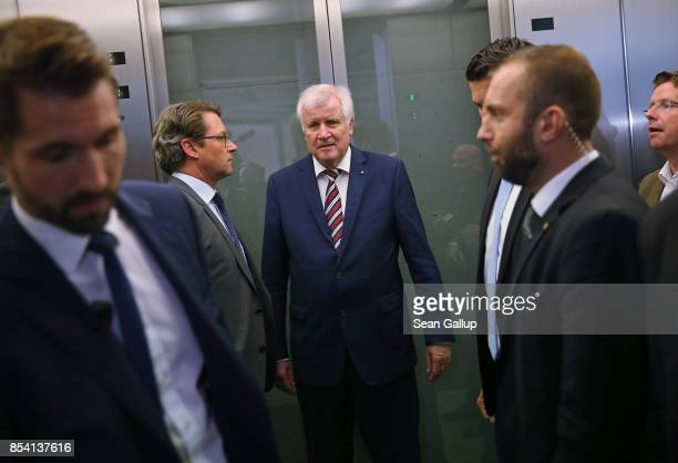 Bavarian Governor and leader of the Bavarian Christian Democrats Horst Seehofer departs following a meeting of the CSU and German Christian Democrats...
