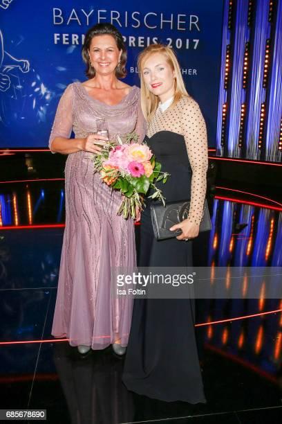 Bavarian Minister for Economic Affairs Ilse Aigner and German actress Nadja Uhl during the Bayerischer Fernsehpreis 2017 at Prinzregententheater on...