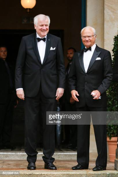 Bavarian minister Horst Seehofer and Carl XVI Gustaf King of Sweden attends the Bayreuth Festival 2017 Opening on July 25 2017 in Bayreuth Germany