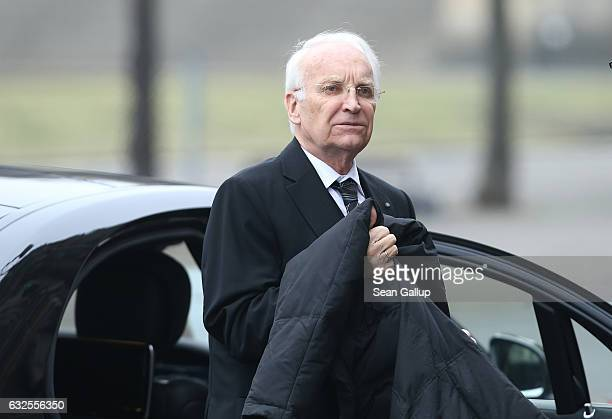 Bavarian politician Edmund Stoiber arrives for the state memorial ceremony for the late former German President Roman Herzog at the Dom cathedral on...