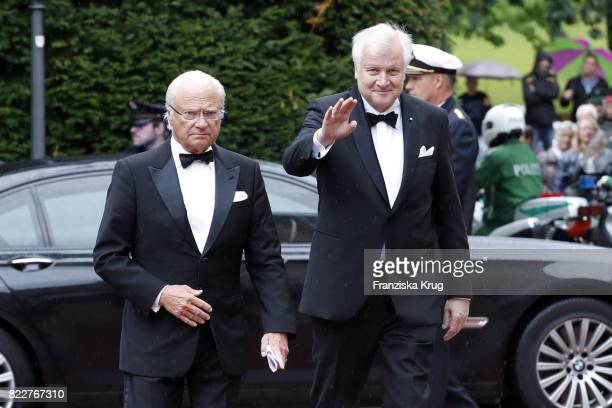 Bavarian State Governor Horst Seehofer and King of Sweden Carl XVI Gustaf attend the Bayreuth Festival 2017 Opening on July 25 2017 in Bayreuth...