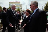 Bavarian state governor Horst Seehofer Bavarian ministers Barbara Stamm and Joachim Herrmann attend the crime scene at OEZ shopping center the day...