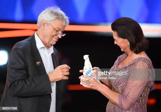 Bavarian state minister Ilse Aigner hands over the Honorary Award to Gerhard Polt during the Bayerischer Fernsehpreis 2017 show at...