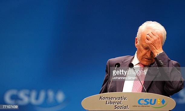 Bavaria's State Governor Edmund Stoiber delivers a speech during the second day of the 72nd Christian Social Union Party Convention at Munich...