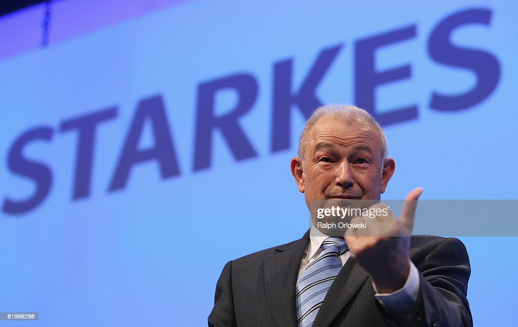 Bavaria's State Governor Guenther Beckstein gestures at the CSU party congress at NuernbergMesse on July 19 2008 in Nuremberg Germany The party...