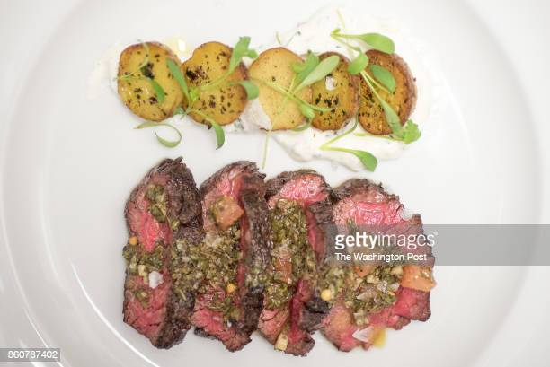 Bavette de Wagyu a la plancha Wagyu bavette topped with chimichurri and roasted potatos at Joselito