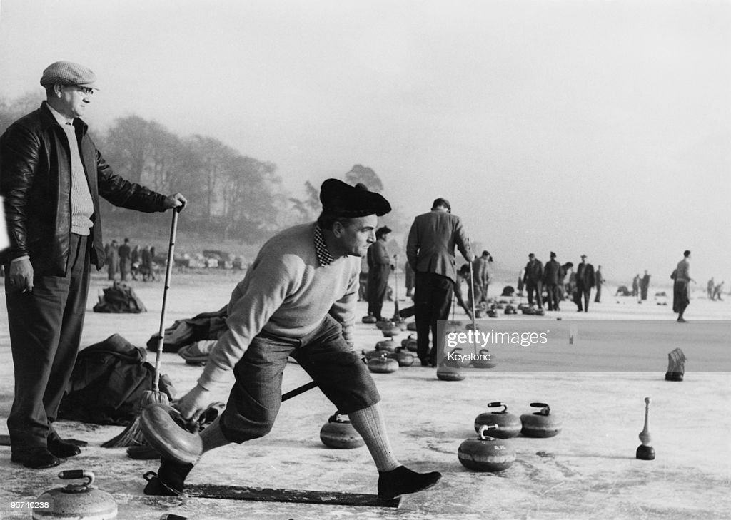DW Baxter taking part in a curling 'Grand Match' of the Royal Caledonian Curling Club on Loch Leven Kinross Scotland 28th January 1959