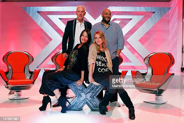 HP Baxxter Sarah Conner Sandra Nasic and Moses Pelham attend the XFactor Press Conference at Lofthaus on July 3 2012 in Duesseldorf Germany