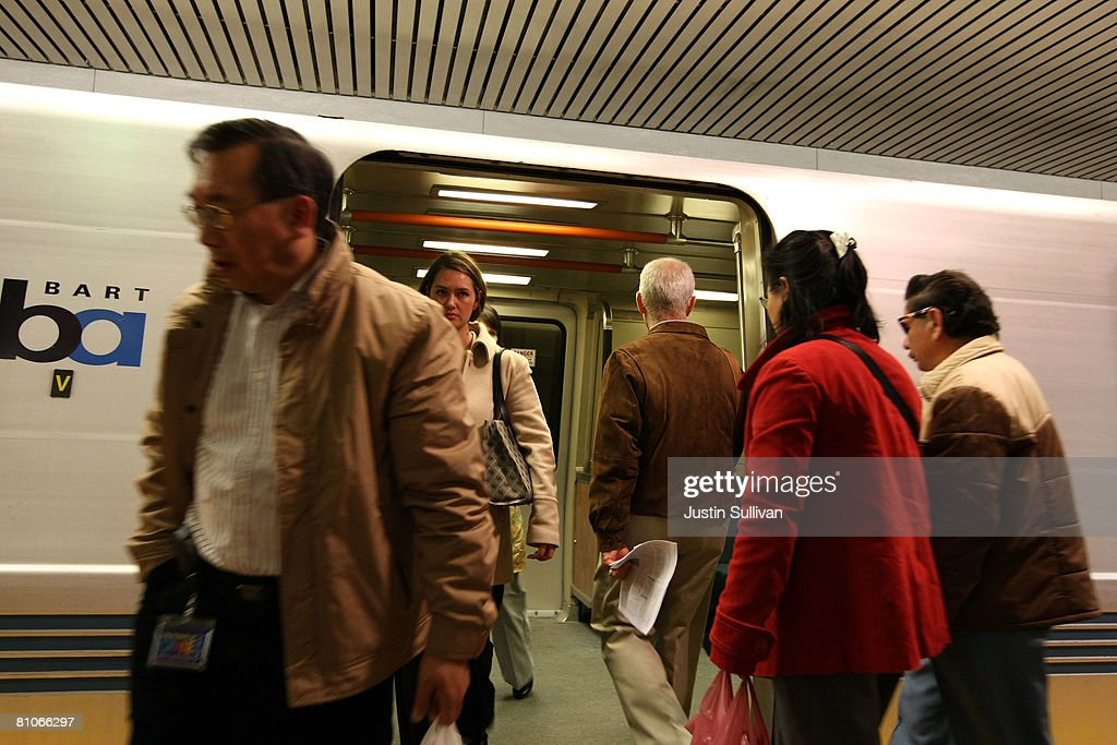 Bay Area Rapid Transit (BART) riders exit a train at the Powell Street station May 12, 2008 in San Francisco, California. BART and other mass transit systems across the country are experiencing a surge in ridership as commuters get out of their cars and take advantage of buses, trains and ferries as in an effort to save money as gasoline prices continue to climb to record highs.