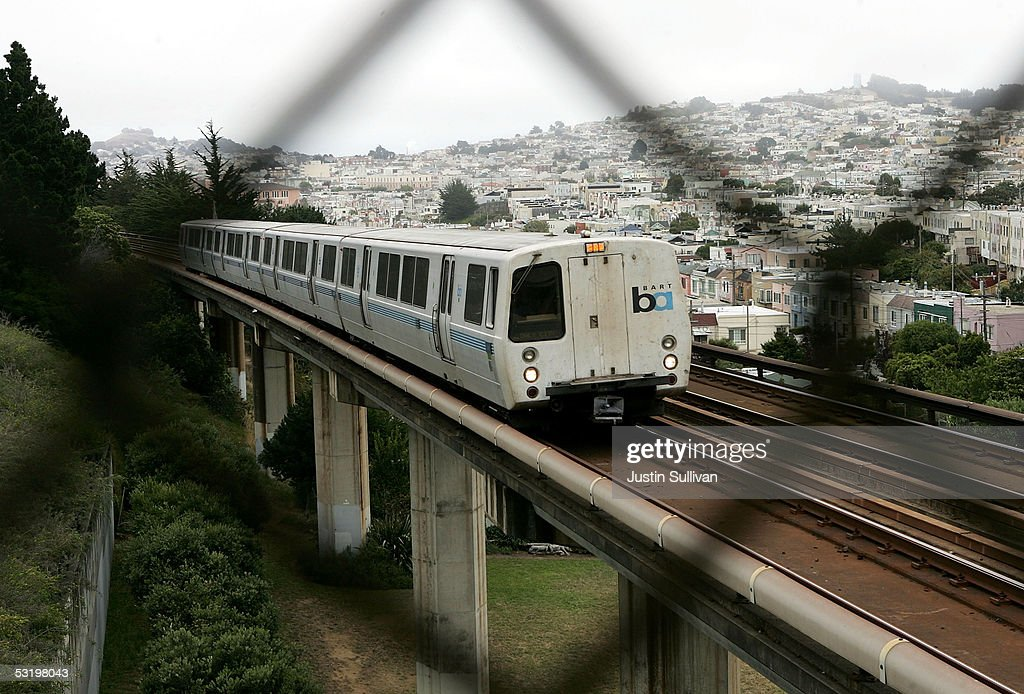 A Bay Area Rapid Transit (BART) train is seen through a fence July 5, 2005 in San Francisco, California. With a strike deadline looming at the end of the July 5, BART management and union representatives are trying to hammer out a contract that would keep BART trains running and avoid potential gridlock on the roadways, as potentially over 300,000 regular BART commuters could take to the highways if the system shuts down.