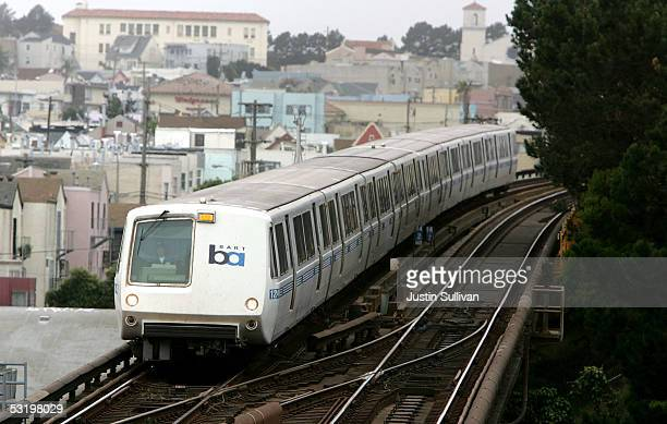 Bay Area Rapid Transit train travels towards downtown San Francisco July 5 2005 in San Francisco California With a strike deadline looming at the end...